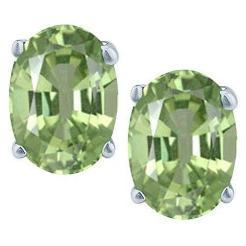 925 Sterling Silver 1.44CT Oval 5*7 Green Amethyst Stud Earrings wholesalekings wholesale silver jewelry