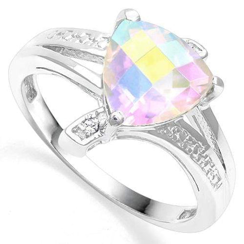 925 STERLING SILVER 1.54 CT MERCURY MYSTIC TOPAZ & DIAMOND COCKTAIL RING - Wholesalekings.com