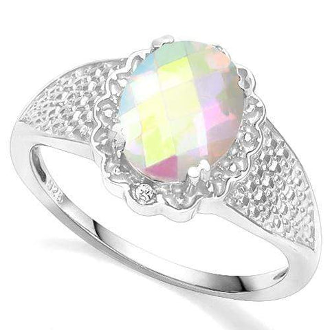 925 STERLING SILVER 1.57 CT WHITE MYSTIC TOPAZ & DIAMOND COCKTAIL RING - Wholesalekings.com