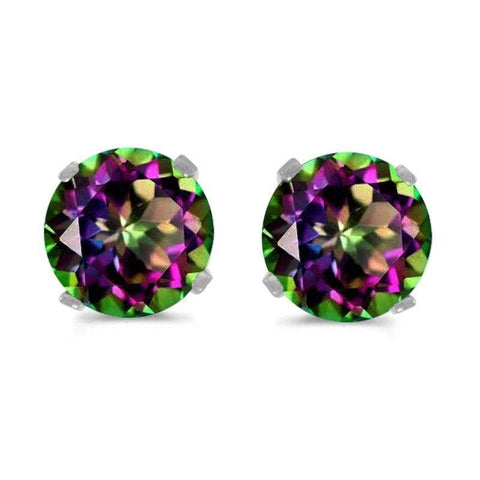 925 Sterling Silver 1.57CT Round 6MM Mystic Gemstone Stud Earrings - Wholesalekings.com