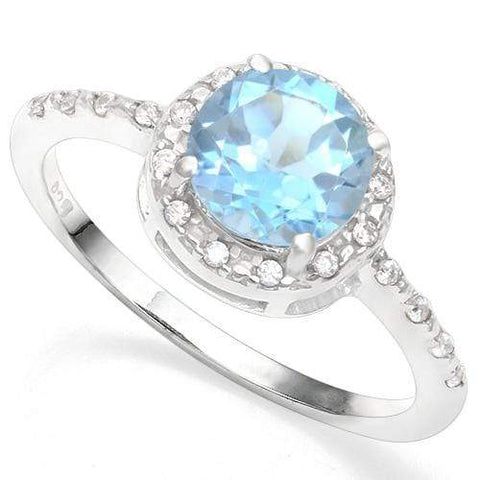 925 STERLING SILVER 1.58CT BABY SWISS BLUE TOPAZ & DIAMOND COCKTAIL RING wholesalekings wholesale silver jewelry