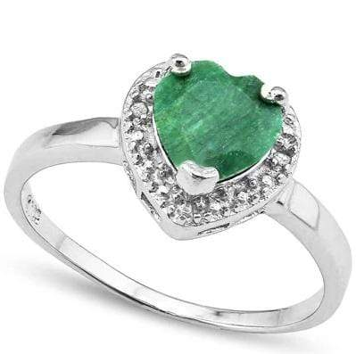 925 STERLING SILVER 1.60 CT ENHANCED GENUINE EMERALD & DIAMOND COCKTAIL RING wholesalekings wholesale silver jewelry