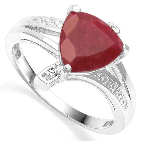 925 STERLING SILVER 1.60 CT ENHANCED GENUINE RUBY & DIAMOND COCKTAIL RING - Wholesalekings.com
