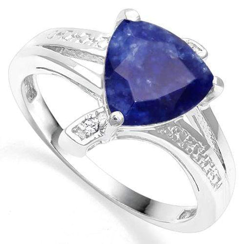 925 STERLING SILVER 1.60. CT ENHANCED GENUINE SAPPHIRE & DIAMOND COCKTAIL RING - Wholesalekings.com
