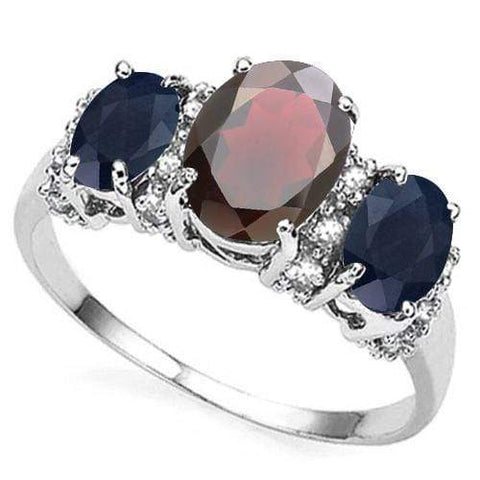 925 STERLING SILVER 1.63 CT GARNET WITH DIFFUSION GENUINE SAPPHIRE & DIAMOND COCKTAIL RING - Wholesalekings.com