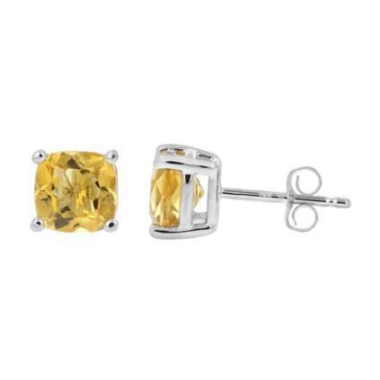 925 Sterling Silver 1.64CT Cushion  6MM Citrine Stud Earrings - Wholesalekings.com