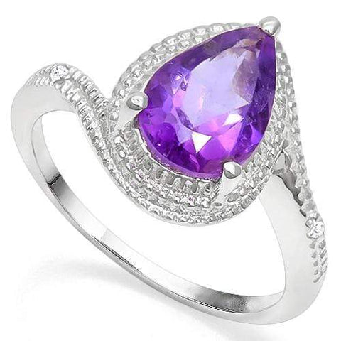 925 STERLING SILVER 1.65 CT AMETHYST & DIAMOND COCKTAIL RING - Wholesalekings.com