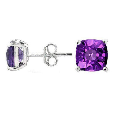 925 Sterling Silver 1.66CT Cushion  6MM Amethyst Stud Earrings wholesalekings wholesale silver jewelry
