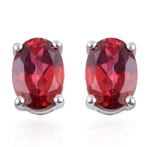 925 Sterling Silver 1.67CT Oval 5*7 Africa Ruby Stud Earrings wholesalekings wholesale silver jewelry