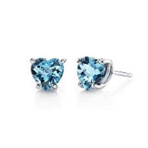 925 Sterling Silver 1.71CT Heart Shape 6MM Blue Topaz Stud Earrings wholesalekings wholesale silver jewelry
