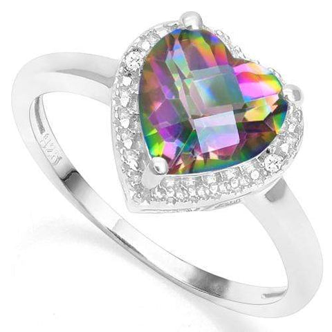 925 STERLING SILVER 1.73 CT MYSTIC GEMSTONE & DIAMOND COCKTAIL RING - Wholesalekings.com