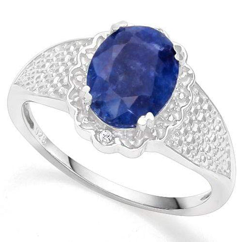 925 STERLING SILVER 1.75 CT ENHANCED GENUINE SAPPHIRE & DIAMOND COCKTAIL RING - Wholesalekings.com