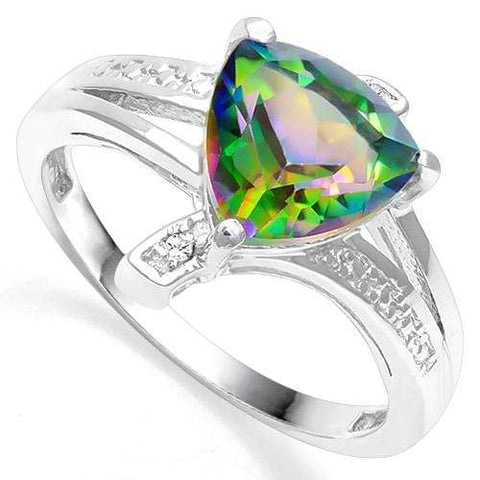 925 STERLING SILVER 1.78 CT GREEN MYSTIC GEMSTONE & DIAMOND COCKTAIL RING wholesalekings wholesale silver jewelry