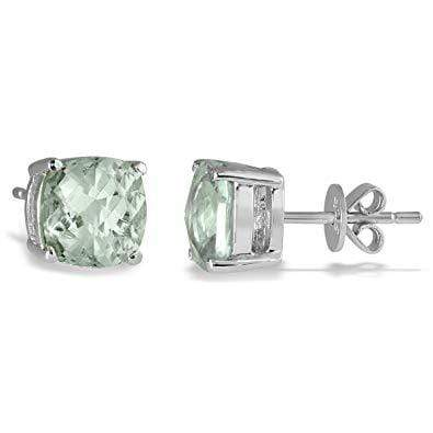 925 Sterling Silver 1.7CT Cushion  6MM Green Amethyst Stud Earrings wholesalekings wholesale silver jewelry
