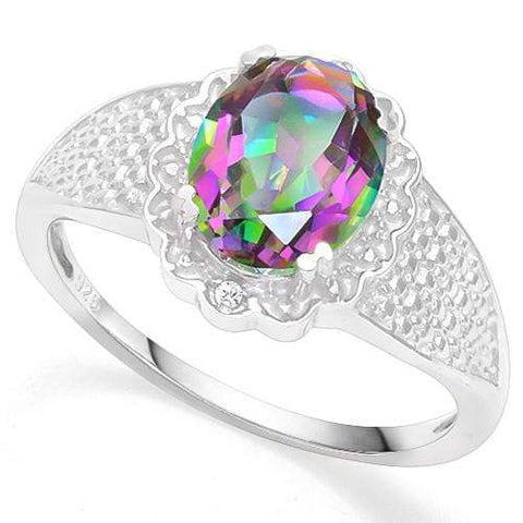 925 STERLING SILVER 1.84 CT MYSTIC GEMSTONE & DIAMOND COCKTAIL RING - Wholesalekings.com