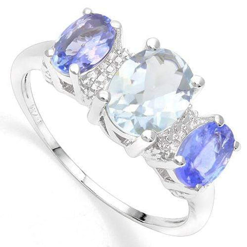 1.00 CT AQUAMARINE & 4/5 CT TANZANITE 18K GOLD PLATED RING - Wholesalekings.com