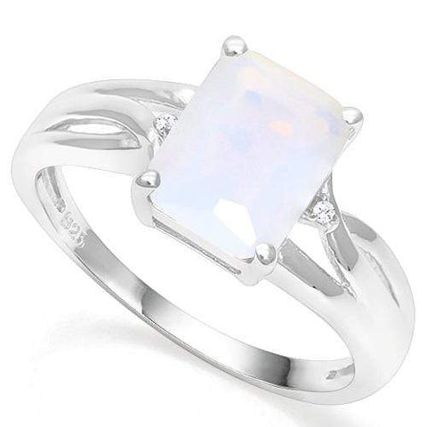 925 STERLING SILVER 1.85 CT CREATED  ETHIOPIAN OPAL & DIAMOND COCKTAIL RING - Wholesalekings.com