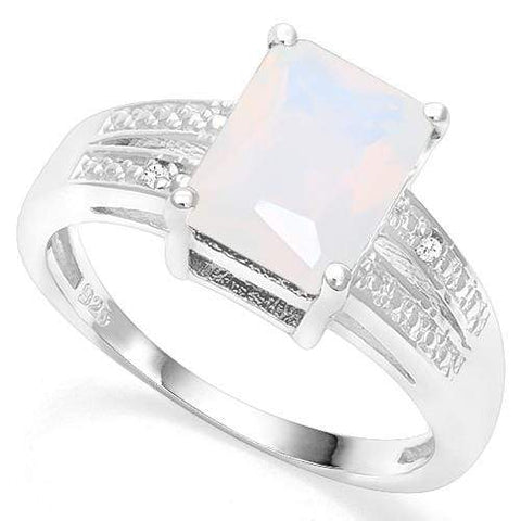 925 STERLING SILVER 1.87 CT CREATED  ETHIOPIAN OPAL & DIAMOND COCKTAIL RING - Wholesalekings.com