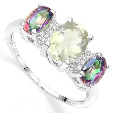 925 STERLING SILVER 1.87 CT GREEN AMETHYST & MYSTIC GEMSTONE COCKTAIL RING - Wholesalekings.com