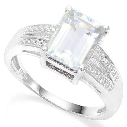 925 STERLING SILVER 1.88 CT AQUAMARINE & DIAMOND COCKTAIL RING wholesalekings wholesale silver jewelry