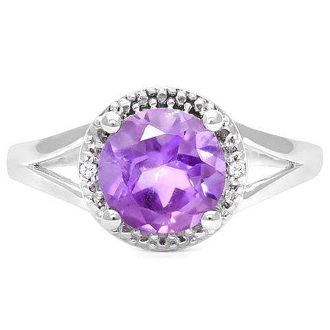 925 STERLING SILVER 1.91 CT AMETHYST & DIAMOND COCKTAIL RING wholesalekings wholesale silver jewelry