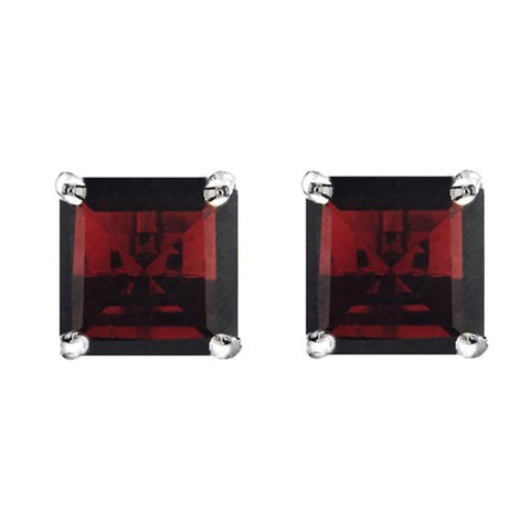 925 Sterling Silver 1.91CT Square  5MM Garnet Stud Earrings wholesalekings wholesale silver jewelry