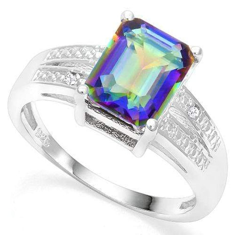 925 STERLING SILVER 2.05 CT OCEAN MYSTIC GEMSTONE & DIAMOND COCKTAIL RING - Wholesalekings.com