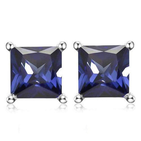 925 Sterling Silver 2.17CT Square  5MM Lab Tanzanite Stud Earrings wholesalekings wholesale silver jewelry