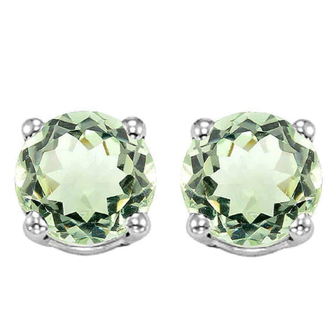 925 Sterling Silver 2.22CT Round 7MM Green Amethyst Stud Earrings wholesalekings wholesale silver jewelry