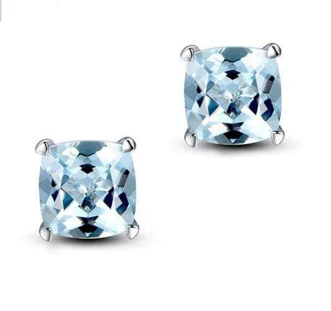 925 Sterling Silver 2.41CT Cushion  6MM Blue Topaz Stud Earrings wholesalekings wholesale silver jewelry