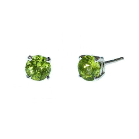 925 Sterling Silver 2.41CT Round 7MM Peridot  Stud Earrings wholesalekings wholesale silver jewelry