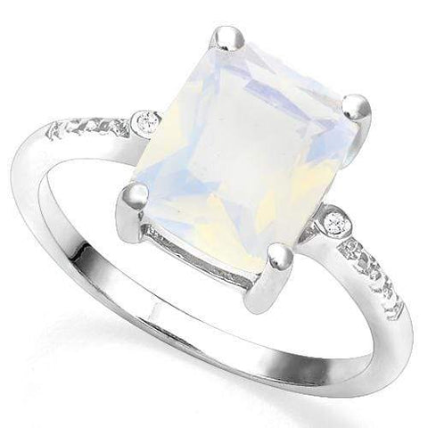925 STERLING SILVER 2.46 CT CREATED  ETHIOPIAN OPAL & DIAMOND COCKTAIL RING - Wholesalekings.com
