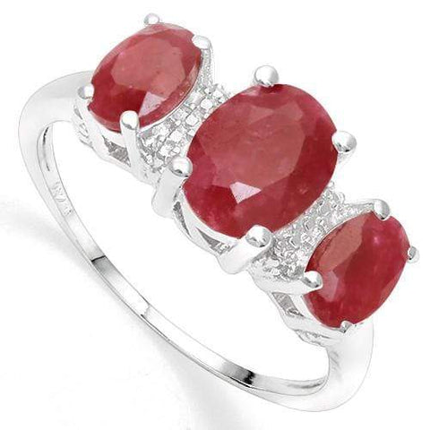 925 STERLING SILVER 2.46 CT ENHANCED GENUINE RUBY & DIAMOND COCKTAIL RING - Wholesalekings.com