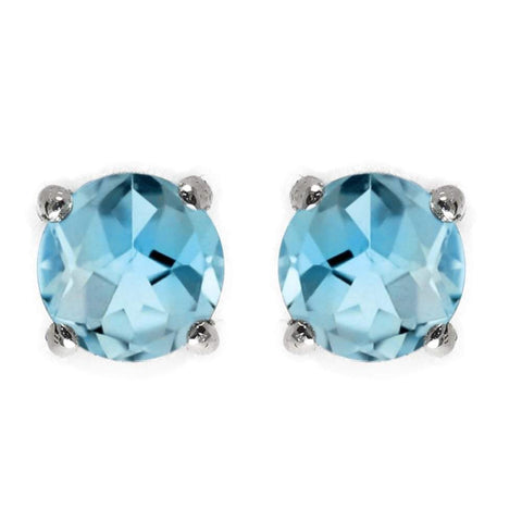 925 Sterling Silver 2.94CT Round 7MM Blue Topaz Stud Earrings wholesalekings wholesale silver jewelry