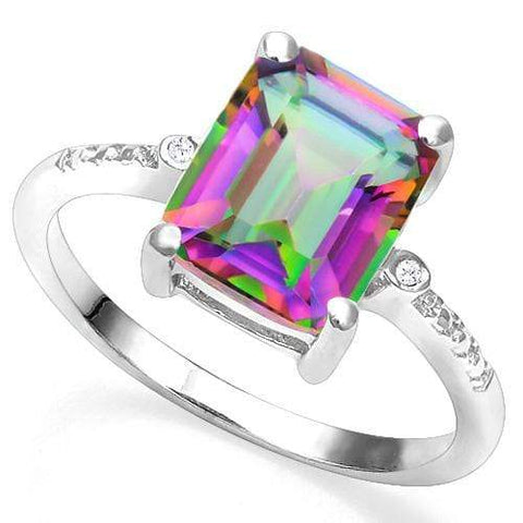 925 STERLING SILVER 2.99 CT MYSTIC GEMSTONE & DIAMOND COCKTAIL RING wholesalekings wholesale silver jewelry