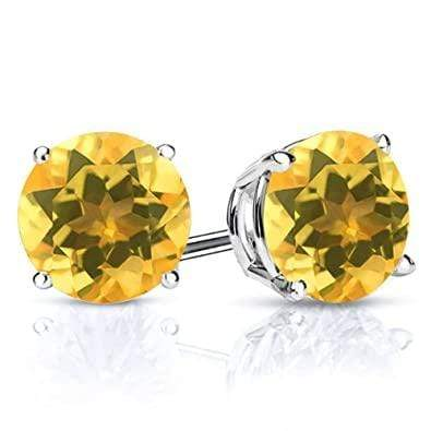 925 Sterling Silver 2CT Round 6MM Citrine Stud Earrings - Wholesalekings.com