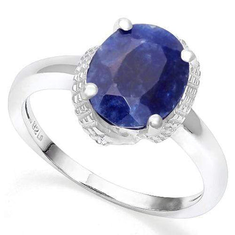 925 STERLING SILVER 3.45 CT ENHANCED GENUINE SAPPHIRE & DIAMOND COCKTAIL RING - Wholesalekings.com