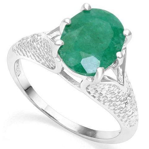 925 STERLING SILVER 3.45CT ENHANCED GENUINE EMERALD & DIAMOND RING wholesalekings wholesale silver jewelry