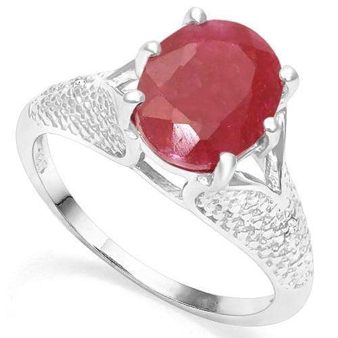 925 STERLING SILVER 3.45CT ENHANCED GENUINE RUBY & DIAMOND RING wholesalekings wholesale silver jewelry