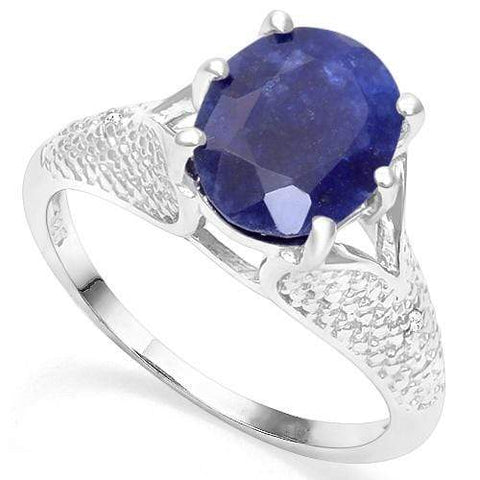 925 STERLING SILVER 3.45CT ENHANCED GENUINE SAPPHIRE & DIAMOND RING wholesalekings wholesale silver jewelry
