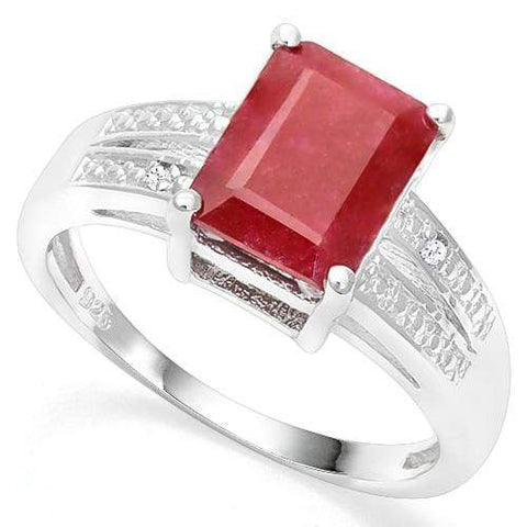 925 STERLING SILVER 3.60 CT ENHANCED GENUINE RUBY & DIAMOND COCKTAIL RING - Wholesalekings.com