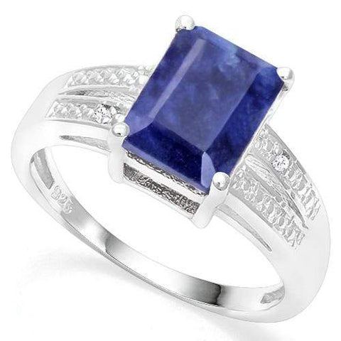 925 STERLING SILVER 3.60 CT ENHANCED GENUINE SAPPHIRE & DIAMOND COCKTAIL RING - Wholesalekings.com