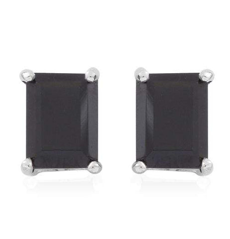 925 Sterling Silver 5.32CT Octagon 6*8 Black Spinel  Stud Earrings - Wholesalekings.com