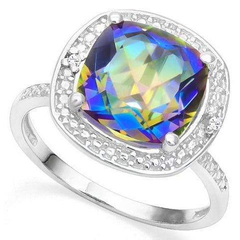 925 STERLING SILVER CU 10MM BLUE MYSTIC GEMSTONE AND DIAMOND  WOMEN RING - Wholesalekings.com