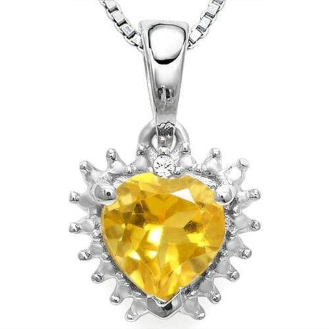 925 STERLING SILVER  HEART 0.68CT CITRINE & DIAMOND PENDANT - Wholesalekings.com