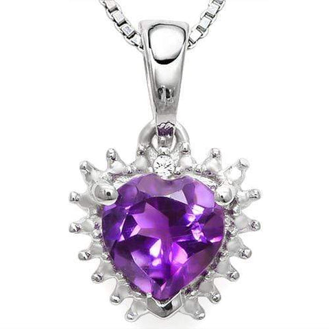 925 STERLING SILVER  HEART 0.71CT AMETHYST & DIAMOND PENDANT wholesalekings wholesale silver jewelry