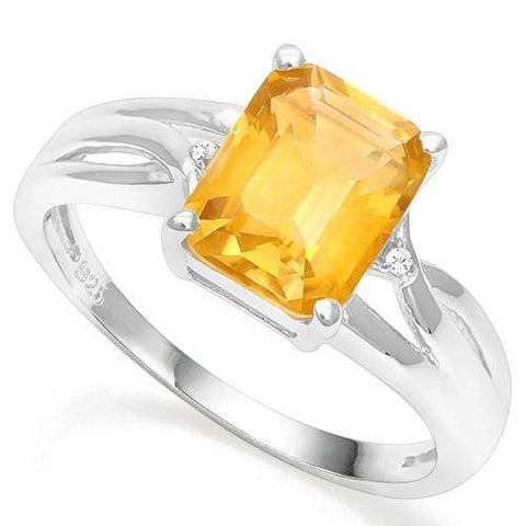 925 STERLING SILVER OCT 2.07CT DARK CITRINE & DIAMOND WOMEN RING - Wholesalekings.com