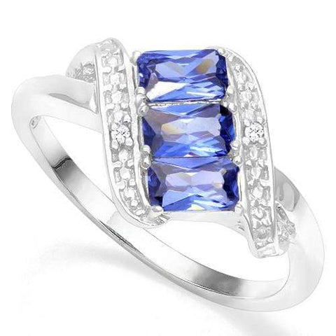 925 STERLING SILVER OCT 3*5 MM LAB TANZANITE WOMEN RING - Wholesalekings.com