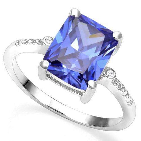 925 STERLING SILVER OCT 8*10 MM LAB TANZANITE & DIAMOND WOMEN RING - Wholesalekings.com