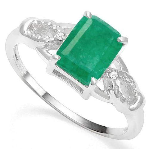 925 STERLING SILVER OCTAGON 1.60 CT ENHANCED GENUINE EMERALD & DIAMOND COCKTAIL RING - Wholesalekings.com